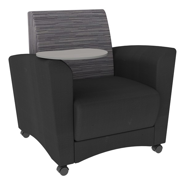 Shapes Series II Common Area Chair w/ Tablet Arm - Black w/ Pepper Fabric Back & Gray Tablet Arm