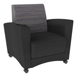 Shapes Series II Common Area Chair w/ Tablet Arm - Black w/ Pepper Fabric Back & Graphite Tablet Arm