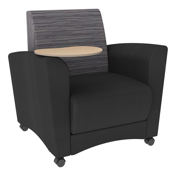 Shapes Series II Common Area Chair w/ Tablet Arm - Black w/ Pepper Fabric Back & Maple Tablet Arm