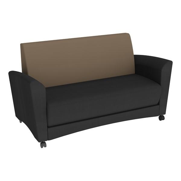 Shapes Series II Common Area Sofa - Black w/ Taupe Back