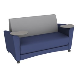 Shapes Series II Common Area Sofa w/ Tablet Arms - Navy Seat w/ Light Gray Back