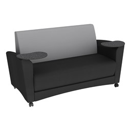 Shapes Series II Common Area Sofa w/ Tablet Arms - Black Seat w/ Light Gray Back