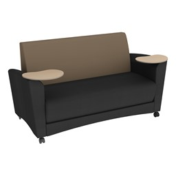 Shapes Series II Common Area Sofa w/ Tablet Arms - Black Seat w/ Taupe Back
