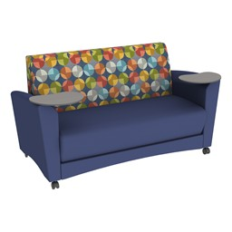 Shapes Series II Common Area Sofa w/ Tablet Arms - Navy Seat w/ Compass Back