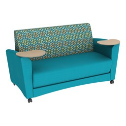 Shapes Series II Common Area Sofa w/ Tablet Arms - Teal Seat w/ Atomic Back
