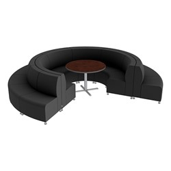 Shapes Series II Banquette Vinyl Soft Seating Set - 18-Piece Inner and Outer Curve Seating w/ Café Table - Black Seats w/ Mahogany Table