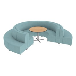 Shapes Series II Banquette Vinyl Soft Seating Set - 18-Piece Inner and Outer Curve Seating w/ Café Table - Blue Seats w/ Oak Table