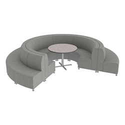 Shapes Series II Banquette Vinyl Soft Seating Set - 18-Piece Inner and Outer Curve Seating w/ Café Table - Light Gray Seats w/ Crisp Linen Table