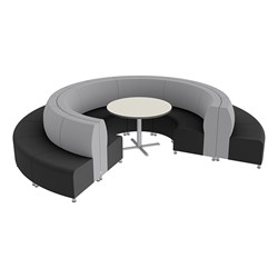 Shapes Series II Banquette Vinyl Soft Seating Set - 18-Piece Inner and Outer Curve Seating w/ Café Table - Light Gray/Black Seats w/ Crisp Linen Table