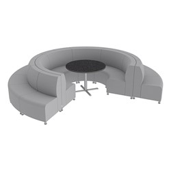 Shapes Series II Banquette Vinyl Soft Seating Set - 18-Piece Inner and Outer Curve Seating w/ Café Table - Light Gray Seats w/ Black Table
