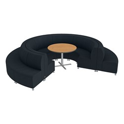 Shapes Series II Banquette Vinyl Soft Seating Set - 18-Piece Inner and Outer Curve Seating w/ Café Table - Black Seats w/ Oak Table