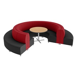 Shapes Series II Banquette Vinyl Soft Seating Set - 18-Piece Inner and Outer Curve Seating w/ Café Table - Red/Black Seats w/ Maple Table