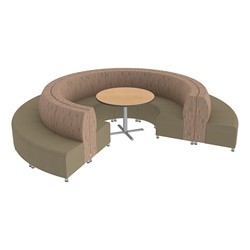 Shapes Series II Banquette Designer Soft Seating Set - 18-Piece Inner and Outer Curve Seating w/ Café Table - Dark Latte/Chocolate Seats w/ Maple Table