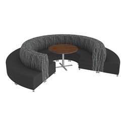Shapes Series II Banquette Designer Soft Seating Set - 18-Piece Inner and Outer Curve Seating w/ Café Table - Peppercorn/Black Seats w/ Mahogany Table