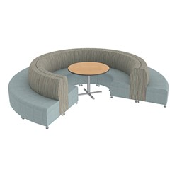 Shapes Series II Banquette Designer Soft Seating Set - 18-Piece Inner and Outer Curve Seating w/ Café Table - Pecan/Bleu Seats w/ Maple Table