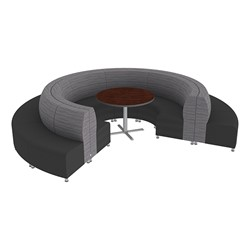 Shapes Series II Banquette Designer Soft Seating Set - 18-Piece Inner and Outer Curve Seating w/ Café Table - Pepper/Black Seats w/ Mahogany Table