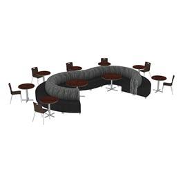 Shapes Series II Banquette Designer Soft Seating Set – Inner and Outer Curve Seating w/ Café Chairs & Tables - Peppercorn/Black Seats w/ Mahogany Tables & Chairs