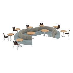 Shapes Series II Banquette Designer Soft Seating Set – Inner and Outer Curve Seating w/ Café Chairs & Tables - Pecan/Blue Seats w/ Oak Tables & Mahogany Chairs