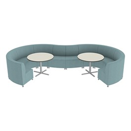 Shapes Series II Banquette Vinyl Soft Seating Set – 10-Piece Inner and Outer Curve Seating w/ Café Tables - Blue Seats w/ Crisp Linen Tables