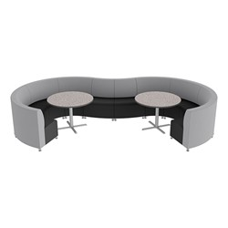 Shapes Series II Banquette Vinyl Soft Seating Set – 10-Piece Inner and Outer Curve Seating w/ Café Tables - Light Gray Seats w/ Gray Nebula Tables