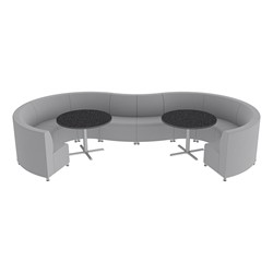 Shapes Series II Banquette Vinyl Soft Seating Set – 10-Piece Inner and Outer Curve Seating w/ Café Tables - Light Gray Seats w/ Black Tables