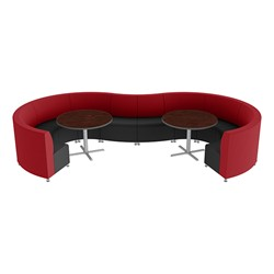 Shapes Series II Banquette Vinyl Soft Seating Set – 10-Piece Inner and Outer Curve Seating w/ Café Tables - Red/Black Seats w/ Mahogany Tables
