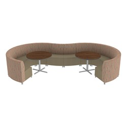 Shapes Series II Banquette Designer Soft Seating Set – 10-Piece Inner and Outer Curve Seating w/ Café Tables - Dark Latte/Chocolate Seats w/ Mahogany Tables