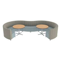 Shapes Series II Banquette Designer Soft Seating Set – 10-Piece Inner and Outer Curve Seating w/ Café Tables - Pecan/Blue Seats w/ Maple Tables