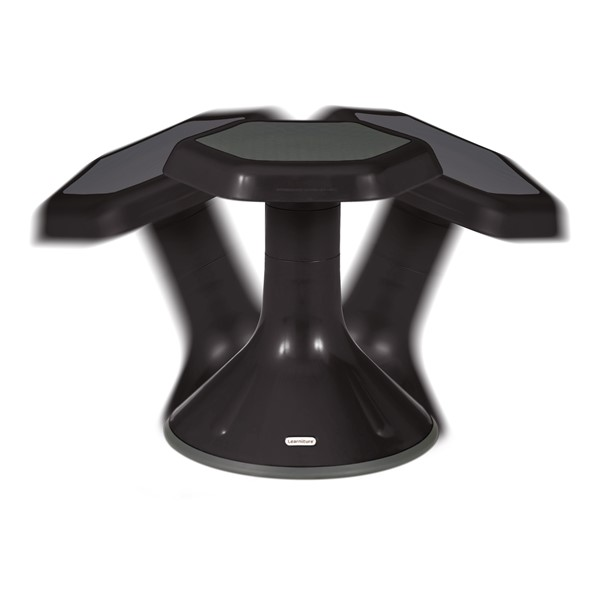 "Boomerang Collaborative Desk w/ Wire Box & 18"" Black Active Learning Stool Set - Stool - Range of Motion"