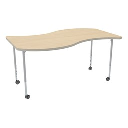 Structure Series Mobile Wave Collaborative Table w/ Thermofused Laminate Top - Maple Top w/ Gray Edge & Silver Mist Leg Finish