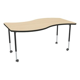 Structure Series Mobile Wave Collaborative Table w/ Thermofused Laminate Top - Maple Top w/ Black Edge & Black Leg Finish