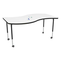 Structure Series Mobile Wave Collaborative Whiteboard Table - Black Leg Finish