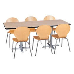 Rectangle Pedestal Café Table and Natural Wood Café Chair Set