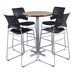 Round Pedestal Stool-Height Café Table - Chairs not included