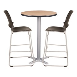 Round Pedestal Stool-Height Cafe Table and Ballard Cafe Stool Set