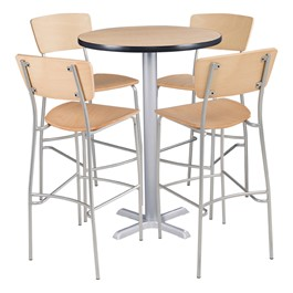 Round Pedestal Stool-Height Cafe Table and Wooden Cafe Chair Set