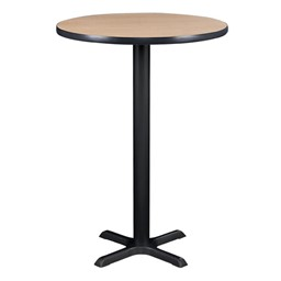 Round Pedestal Stool-Height Cafe Table and Wooden Cafe Chair Set - Table
