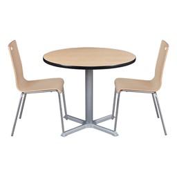 Round Pedestal Café Table and Bentwood Stack Café Chair Set