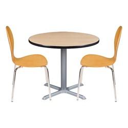 Round Pedestal Café Table and Natural Wood Café Chair Set