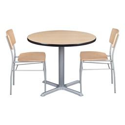 Round Pedestal Café Table and Wooden Café Chair Set - Natural oak