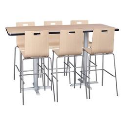 Rectangle Pedestal Stool-Height Café Table and Bentwood Stack Café Stool Set
