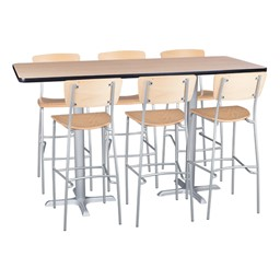 Rectangle Pedestal Stool-Height Cafe Table and Wooden Cafe Stool Set
