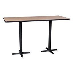 Rectangle Pedestal Stool-Height Cafe Table and Wooden Cafe Stool Set - Table