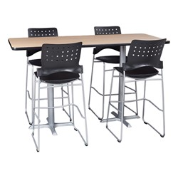 Rectangle Pedestal Stool-Height Café Table - chairs not included