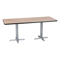 Rectangle Pedestal Café Table and Natural Wood Café Chair Set - Table