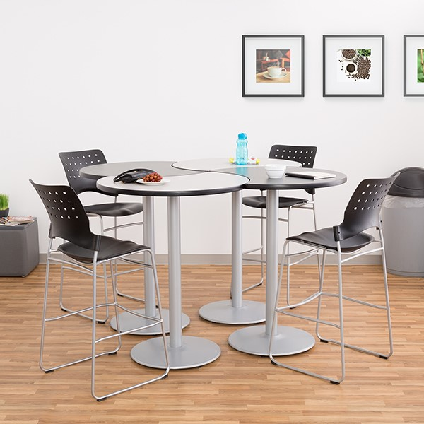 Crescent Pedestal Stool-Height Café Table w/ Round Base - Grouped