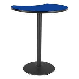 Crescent Pedestal Stool-Height Designer Café Table w/ Round Base - Lapis Blue Table Top/Black Edgeband/Black Base