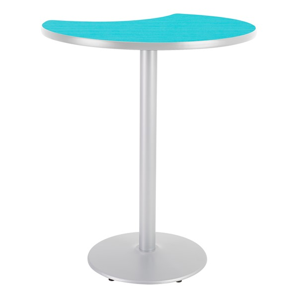 Crescent Pedestal Stool-Height Designer Café Table w/ Round Base - Ocean Table Top/Gray Edgeband/Silver Base
