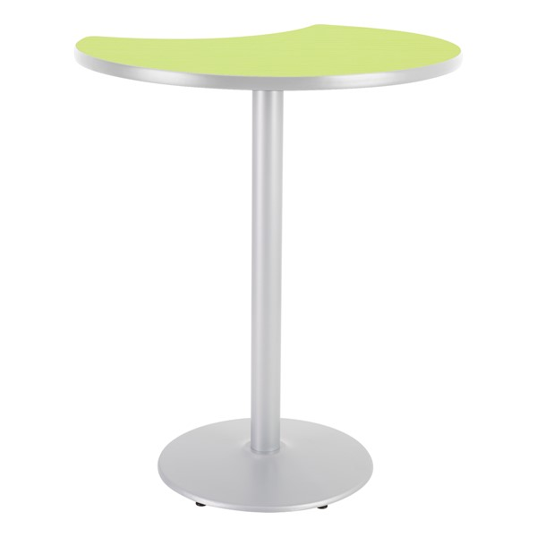 Crescent Pedestal Stool-Height Designer Café Table w/ Round Base - Island Table Top/Gray Edgeband/Silver Base