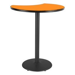 Crescent Pedestal Stool-Height Designer Café Table w/ Round Base - Orange Grove Table Top/Black Edgeband/Black Base
